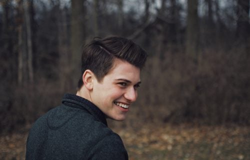 Man In Woods With Slight Receding Hairline